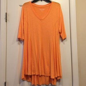 Soft Surroundings XL Orange T-shirt Tunic Top EUC